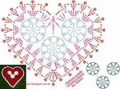 EU TAMBÉM CROCHETO...: Tapete Coração Vermelho e Branco em Trapilho