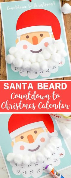 Free Printable Santa Beard Advent Calendar | DIY Countdown to Christmas Calendar #christmascrafts #countdowntochristmas