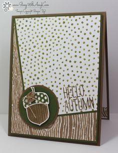 I used the Stampin' Up! Acorny Thank You and Cheer All Year stamp sets to create a clean an simple autumncard to share today. It's finally cooling off and drying out a bit here...so glad that fal...