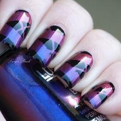 Fun nail art.  All you need is tape and two colors of polish!