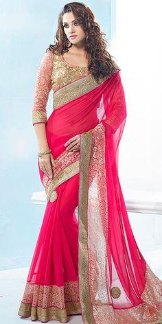 Mystical Pink Chiffon Saree With Blouse.