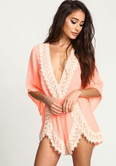 Turn heads in this gorgeous romper! Vibrant woven romper with a plunge front and delicate crochet detailing along the neckline and shorts. Looks amazing with a wide brim hat and stacked bracelets Junior Outfits, Trendy Outfits, Summer Outfits, Romper Outfit, Neon, Pretty Lingerie, How To Pose, Dress Me Up, Online Shopping Clothes