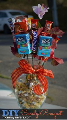 DIY Candy Bouquet!  Perfect for teens or people who are hard to shop for.  Could use a mix of full size and snack size bars.   The website no longer works, but just take candy and tape or glue it onto old plastic flower stems or wood kabob sticks.  Arrange in a vase filled with wrapped candies.
