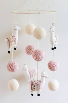 lama-kindergarten-mobile-lama-mobile-lama-lama-kindergarten-boho-baby-kindergarten-boho-kindergarten-pom-pom-made-to-order/ - The world's most private search engine Boho Nursery, Girl Nursery, Nursery Decor, Room Decor, Felt Crafts, Diy And Crafts, Kids Crafts, Diy Bebe, Boho Baby