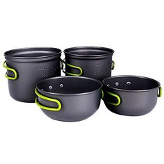 Description: A camping cooking pan set is foldable and easy for storage with silicone to cover the handle to protect from burning. And the pot and the pans are designed with folding handles to save s. Camping Cooking, Outdoor Cooking, Camping Hacks, Camping Kitchen, Family Camping, Camping Beds, Pots And Pans Sets, Camping Outfits, Pan Set