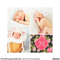 Floral Monogram Baby Photo Collage Nursery Art Canvas Print