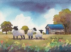 Watercolour Print Sheep on Welsh farm Gift by Pamelajonesartstudio