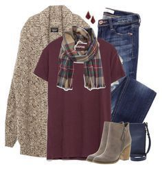 """""""Zara oversized cardigan, burgundy tee & plaid scarf"""" by steffiestaffie ❤ liked on Polyvore featuring Zara, FOSSIL, Sole Society, Sbicca, Kendra Scott, women's clothing, women, female, woman and misses"""