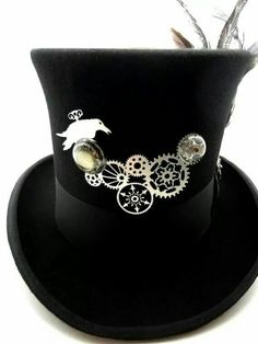 61bdb08f311 Steampunk Hat- Black Top Hat in Wool Felt Size Med Large or X-Large  Gunmetal Silver Geared Raven Focal and Feathers by Dr Brassy Steampunk
