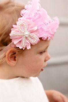 Pink Feather Headband Pink Baby Headband by KennasKlippiesBows