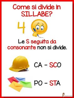 La Divisione In Sillabe. Back To School Night, 1st Day Of School, Primary School, Italian Grammar, Italian Language, First Day Procedures, Mastery Learning, Learn To Speak Italian, Italian Lessons