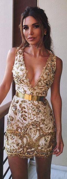 #winter #outfits rhinestone-embellished white and gold plunging-neckline sleeveless mini dress