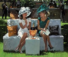 """New from Sherree Valentine Daines, Champagne Rendezvous, Image Size 26 x 22"""", £775, Embellished Canvas"""