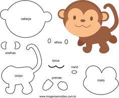 felt molds to make felt monkey ideas Felt Animal Patterns, Felt Crafts Patterns, Stuffed Animal Patterns, Jungle Theme Nursery, Jungle Theme Birthday, Quiet Book Templates, Felt Templates, Felt Toys, Felt Animals