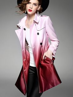 Wine Double-Breasted Gradient Color Long Sleeve Trench Coat