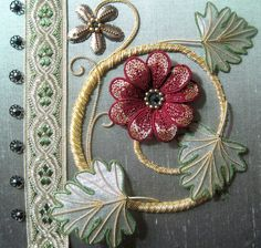 Memories of Italy - goldwork piece made at workshop with Alison Col, July Jacobean Embroidery, Silk Ribbon Embroidery, Beaded Embroidery, Embroidery Patterns, Stitch Patterns, Couture Embellishment, Fabric Journals, Gold Work, Embroidery Techniques