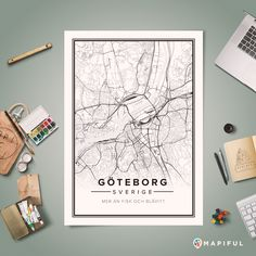 Create and order custom posters based on your favorite places. This poster show you Gothenburg in Sweden.