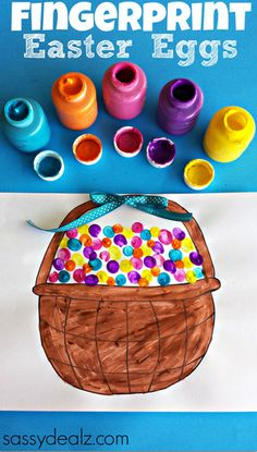 Fingerprint Easter Egg Craft (w/ Free Easter Basket Printable)  #Easter Craft for Kids | CraftyMorning.com