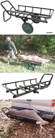 Hand cart conveniently rolls and totes your game then transforms, with the removal of wheels, to a hitch mounted cargo carrier to transport home. Hunting Truck, Bow Hunting Deer, Whitetail Deer Hunting, Hunting Tips, Hunting Rifles, Deer Camp, Coyote Hunting, Hunting Stands, Deer Stands