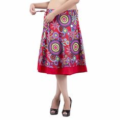 Women Knee Length Red Rajasthani Multicolored Printed Wrap Around Skirt Wrap Around Skirt, Salwar Kameez, Midi Skirt, Summer Dresses, Skirts, Red, Printed, Shopping, Heaven