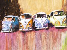 Volkswagen Hippie VW Bus Watercolor Painting Art by DonCobbArtwork