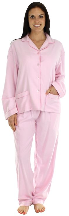 bSoft Bamboo Flannel Classic Button Up Pajamas in Solid Pink Medium