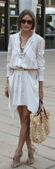 Who made  Olivia Palermo's tan straw handbag, gold jewelry, suede lace up shoes, brown sunglasses, and white dress that she wore in New York?