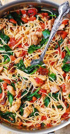 Summer Pasta Recipes, Vegetarian Pasta Recipes, Pasta Dinner Recipes, Healthy Pasta Recipes, Cooking Recipes, Vegetarian Spaghetti, Healthy Chicken, Healthy Food, Chicken Spinach Pasta
