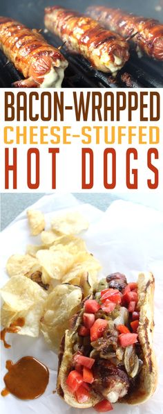 Bacon-Wrapped, Cheese-Stuffed Hot Dogs with our super secret Sweet & Spicy Mustard Sauce. Get to the grill! via This Cook That Hot Dog Recipes, Barbecue Recipes, Grilling Recipes, Cooking Recipes, Yummy Recipes, Game Recipes, Sausage Recipes, Lunch Recipes, Bacon On The Grill