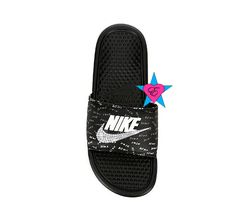 41207813a7f2 Bedazzled Glitter Just Do It Black Nike Benassi JDI Print Sport Slides with  Crystal Swoosh sold
