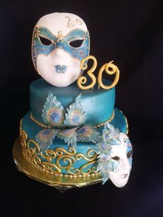 Blue and Gold with hand painted feathers Masquerade Cake ~ all edible by melody.wilson.370