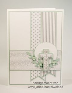 Find ideas and information about Stampin & # s on a regular basis here. - Find ideas and information about Stampin & # s on a regular basis here. Confirmation Cards, Baptism Cards, Christening Card, Christening Headband, First Communion Cards, Première Communion, Christian Cards, Fun Fold Cards, Card Sketches