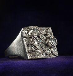 1920-30's Art Deco Diamond Cocktail Ring.  Um, WOW.