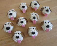 Puppy Cupcakes - so cute Puppy Cupcakes, Puppy Cake, Animal Cupcakes, Puppy Birthday Parties, Puppy Party, Birthday Treats, Dog Birthday Cakes, Birthday Cupcakes, 7th Birthday