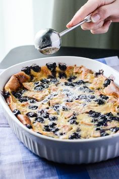 Blueberry Pear Clafoutis - rustic, French, and perfectly delish! French Dishes, French Desserts, Easy Desserts, Delicious Desserts, Dessert Recipes, Yummy Food, French Recipes, Pear Recipes, Unique Recipes