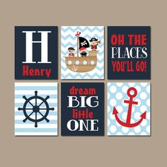 Boy PIRATE Wall Art Baby Boy Bedroom Canvas or Prints Pirates Ship Wheel Anchor Navy Blue Red Places Go Child Dream Big Boy Name Set of 6