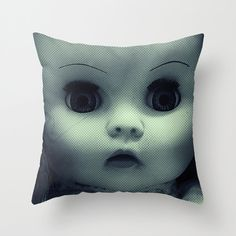 Throw Pillow Cover  Scary Doll  Blue Green Two Designs  by adidit, $36.00