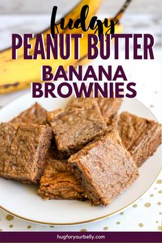 Rich, chocolatey, and easy to make, these peanut butter banana brownies are sure to be a hit with your family! #desserts #brownies #easyrecipes Banana Brownies, Chewy Brownies, Homemade Brownies, Best Dessert Recipes, Fun Desserts, Real Food Recipes, Homemade Peanut Butter, Peanut Butter Banana, Brownie Ingredients