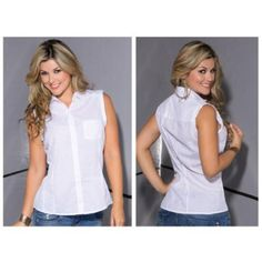 Blouse Collar And Buttons White X-Large by MG. $88.20. Blouse Collar and Buttons White X-Large. Sleeveless blouse with collar and row of buttons on the middle front to give the favorite neckline with side pocket on the front, the back has a delicate design with delicate picked up by two buttons, this garment is made of cotton for comfort. Composition: 100% Cotton.