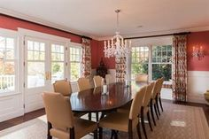 Dining room overlooking expansive yard.