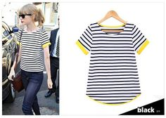 2014  SIZE FREE Women t-shirt Stripe Thicken Loose Cotton  short-sleeve  T-shirt Women Free shipping