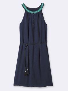 WOMEN'S DRESS WITH EMBROIDERED NECKLINE, Women