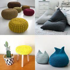 Puffs e banquetas - Tendência decoração tricô e crochê