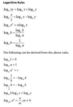 How to proof the properties of logarithms: product rule, quotient rule, power rule, change of base rule with examples and step by step solutions Maths Algebra, Math Vocabulary, Math Formula Chart, Maths Solutions, Precalculus, Math Notes, Physics And Mathematics, Math Formulas, School Study Tips