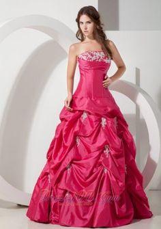 0c61d9d0da8 Plus Size Popular Hot Pink A-line Strapless Appliques Prom Dress  Floor-length Taffeta
