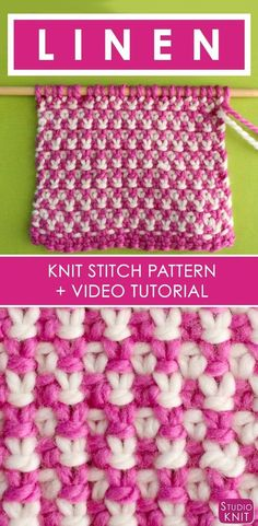 How to Knit the 2 Color Linen Stitch with Free Written Pattern and Video Tutorial by Studio Knit. via @StudioKnit
