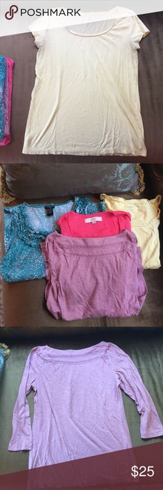 Lot of 4 Ann Taylor Loft summer shirts Cute cotton shirt set. All are in great shape except last yellow shirt has 2 small pin holes and a tiny tiny bleach spot.  Throwing that one in the bundle for free :-) Ann Taylor Tops Tees - Short Sleeve