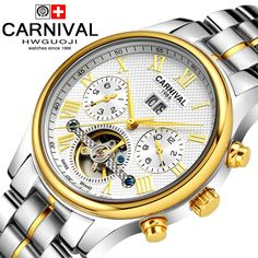 88.00$  Watch now - http://alipky.worldwells.pw/go.php?t=32638717925 - Carnival Men's waterproof tourbillon Watch Men gold Stainless steel Sapphire Glass Automatic Mechanical Watch relogio masculine