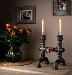 LUXMA® - Handmade in UK Table Lamp Industrial Style Iron Pipes with dimmer and E27 40W Edison Antique Bulbs - Round Cloth Wire - UK Plug(Etsy のLuxmaLtdより) https://www.etsy.com/jp/listing/385223892/luxma-handmade-in-uk-table-lamp