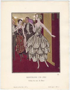 """Respirons un Peu - Robes du soir, de Beer,"" plate 21 from Gazette du Bon Ton, Volume 1, No. 3  French, April 1920"